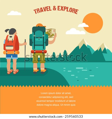Vector vintage background with backpackers, forest, mountains and hills - stock vector