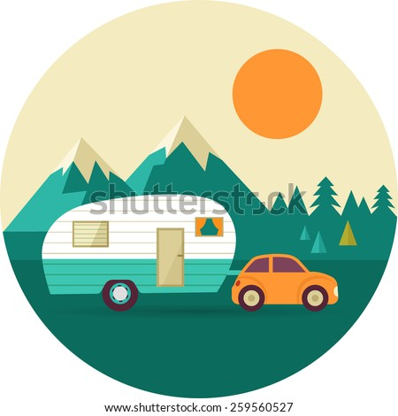 Vector vintage background with nature, forest, mountains and camper car - stock vector