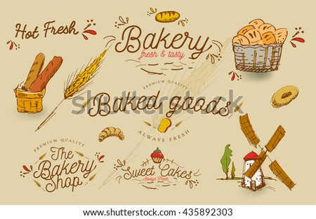 Vector Vintage Bakery shop sign and emblem designs / Baked / Cakes / Bread / Typography / Illustration / Hot, Fresh,Goods,Premium Quality, Muffin, - stock vector
