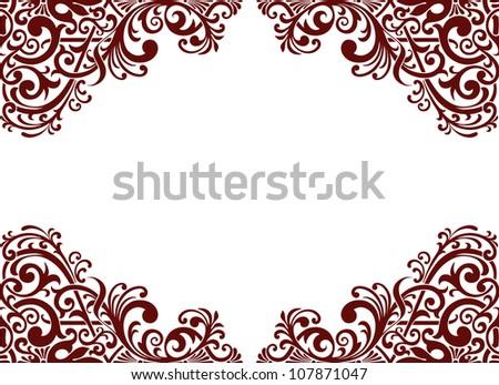 Vector vintage baroque border frame card background flower motif arabic retro pattern ornate - stock vector