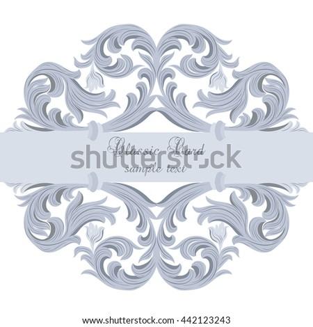 Vector Vintage Baroque card. Vector Ornamental frame. Elegant Baroque Style border frame engraved with  Rococo ornament. Decorative frame border cover. Serenity color ornament - stock vector