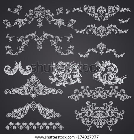 Vector vintage baroque engraving floral scroll filigree design - stock vector