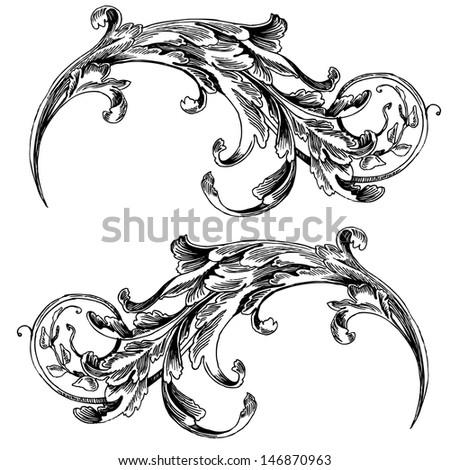 Vector vintage baroque engraving floral scroll filigree design frame border acanthus pattern element at retro grunge damask background. Vintage background black baroque pattern - stock vector