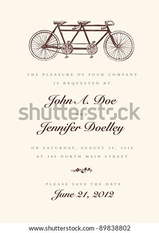Vector Vintage Bicycle Wedding Invitation. All pieces are separate, and easy to edit. - stock vector