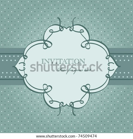 Vector vintage blue greeting card - stock vector