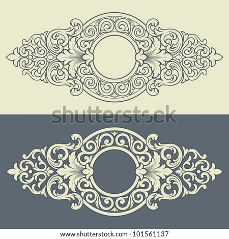 Vector vintage border frame engraving with retro ornament filigree pattern in antique baroque style decorative design - stock vector