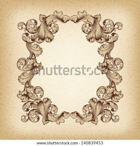 vector vintage border  frame engraving  with retro ornament pattern in antique baroque style decorative design - stock vector
