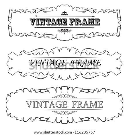 Vector vintage border frame. Set - stock vector