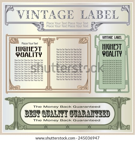 Vector vintage border style labels on different versions for decoration and design  - stock vector