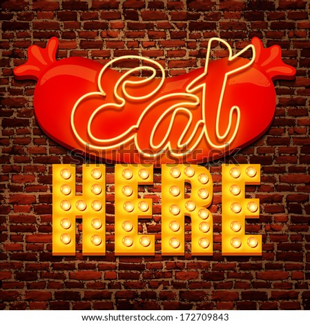 Vector vintage cafe sign - stock vector
