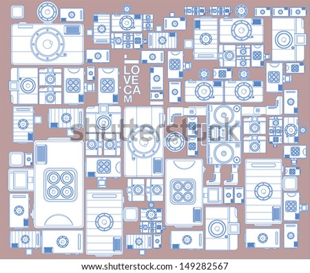 vector vintage camera simple colors background - stock vector