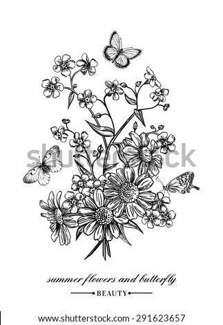 Vector vintage card with a bouquet of flowers and butterflies. Forget-me-not and daisies. Black and white illustration. - stock vector