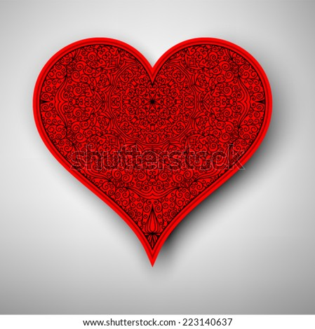Vector vintage card with heart. Template lace design for card. - stock vector