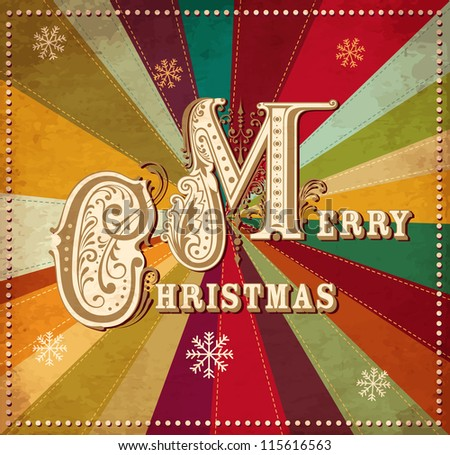 Vector vintage Christmas card - stock vector