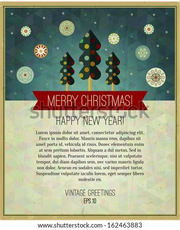 Vector vintage christmas greeting card design. Vector illustration. - stock vector