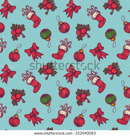 Vector vintage Christmas pattern. Balls, ribbon and sock - stock vector