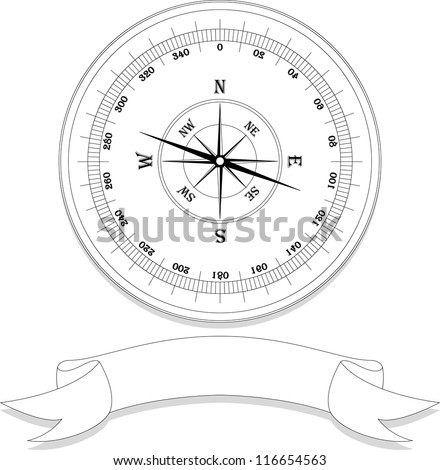 vector vintage clasic compass on white background - stock vector