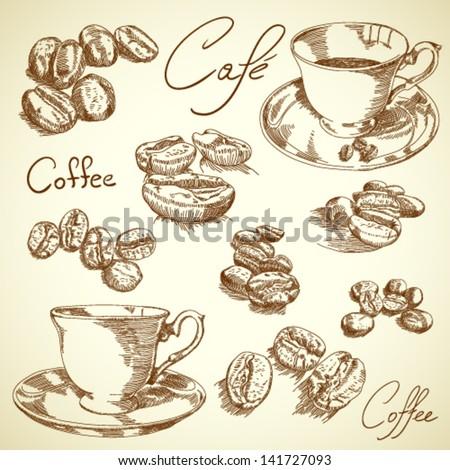 Vector vintage coffee set - stock vector