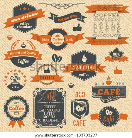 Vector Vintage Coffee Stamps and Label Design Backgrounds. Menu Template. - stock vector