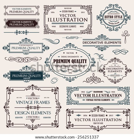 Vector vintage collection: Baroque and antique frames, labels, emblems and ornamental design elements on a old paper textural background - stock vector