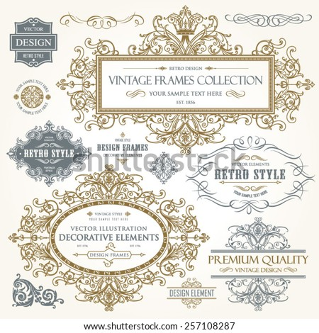 Vector vintage collection: Baroque and antique frames, labels, emblems and ornamental design elements on a old paper background - stock vector