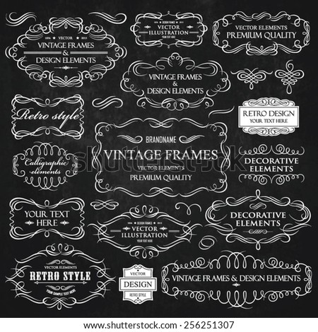 Vector vintage collection: Calligraphic frames and elements on a chalkboard background - stock vector