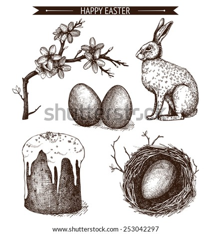 Vector vintage collection of ink hand drawn Easter illustrations isolated on white. Easter holiday sketch set.  - stock vector