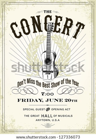 Vector Vintage Concert Poster. Easy to edit. All layers are separated. - stock vector