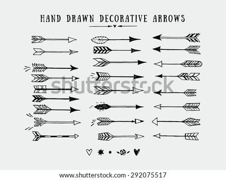 Vector vintage decorative arrows set. Hand drawn vector design elements - stock vector