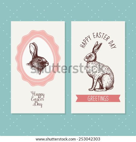 Vector vintage design with ink hand drawn Easter sketch for greeting card or invitation. Decorative hare portrait. - stock vector