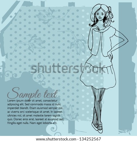 vector vintage fashion background with elegant stylized fashion model - stock vector