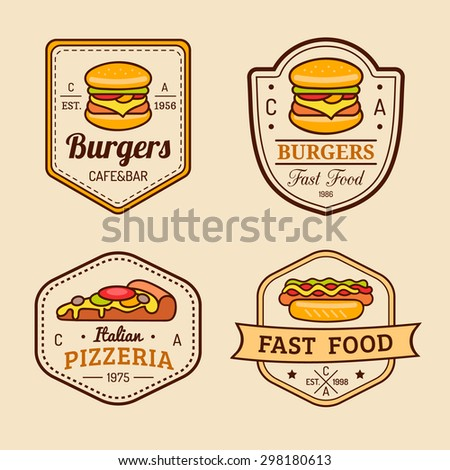 Vector vintage fast food logo set. Retro eating signs collection. Hand drawn burger, pizza, hamburger, hot dog, frankfurter  emblems. Bistro, snack bar, restaurant, cafe, american diner icons.  - stock vector