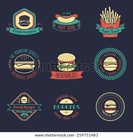 Vector vintage fast food logo set. Retro food logotypes collection - stock vector