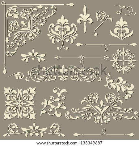 vector  vintage floral  design elements on gradient background, shadows on separate layer, fully editable eps 8 file - stock vector