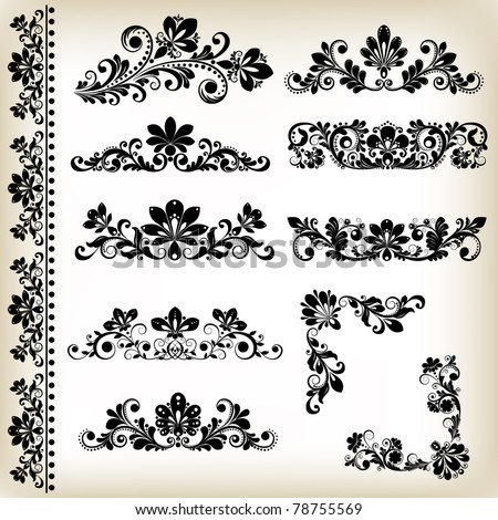vector vintage floral elements with decorative flowers for design - stock vector