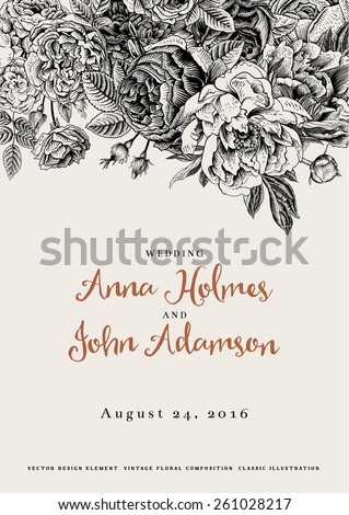 Vector vintage floral wedding invitation. Black and white roses and peonies. - stock vector