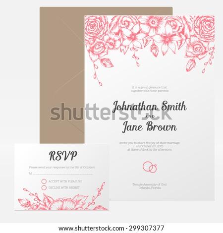 Vector vintage floral wedding invitation set. Hand drawn flower border. RSVP, thank you or guest card. - stock vector