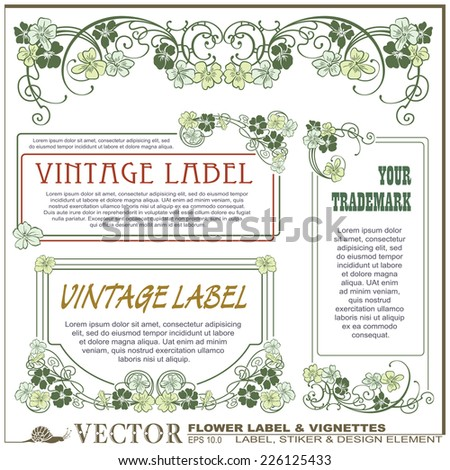 Vector vintage flower labels on different versions for decoration and design  - stock vector