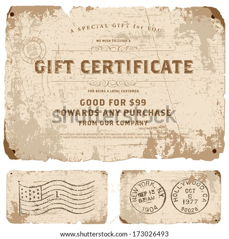 Vector vintage gift certificate template set. Great for retro diplomas, certificates, and awards.  - stock vector