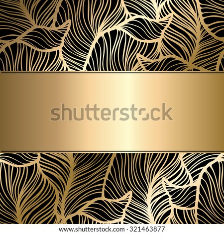 Vector vintage gold card with seamless damask pattern  EPS 10 - stock vector