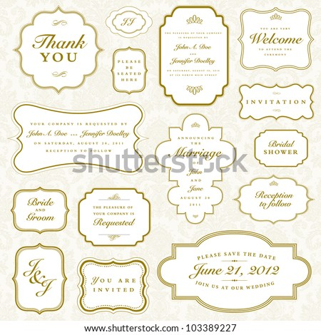 Vector Vintage Gold Frame Set. Easy to edit. Perfect for invitations or announcements. - stock vector