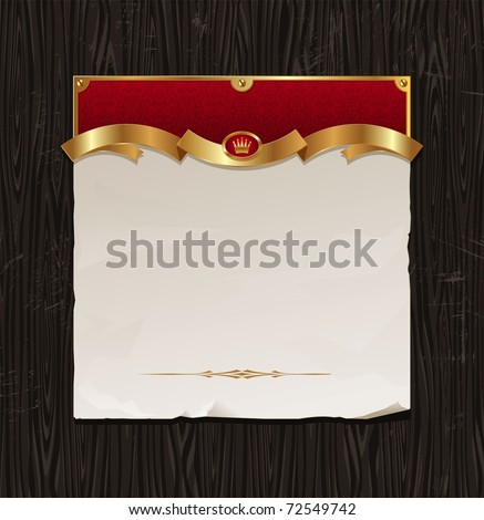 Vector vintage golden frame with paper banner on a black wood background - stock vector