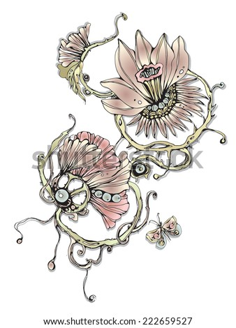 Vector vintage graphic with flowers - stock vector