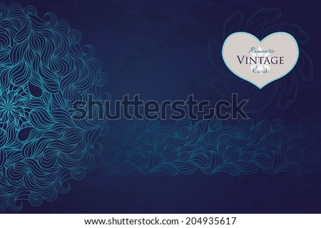 Vector vintage greeting card design on grungy background with hand drawn lace ornaments. Dark template design for card.  - stock vector
