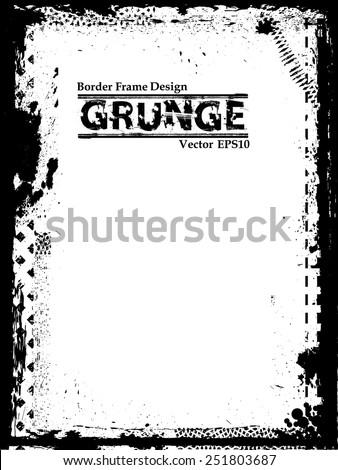 Vector Vintage Grunge Black and White Distress Border Frame for your Design . Distress Frame .Grunge Frame .  - stock vector