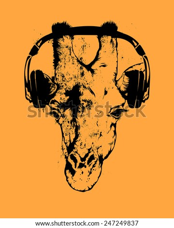 Vector vintage illustration - Giraffe and music - stock vector