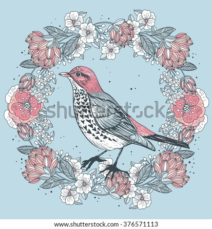 Vector vintage illustration of a bird and a floral wreath with blooming roses  - stock vector