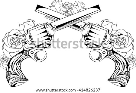 Vector vintage illustration of two revolvers with roses. Duel. Design tattoos, postcards.  - stock vector