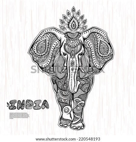 Vector vintage Indian elephant illustration  - stock vector