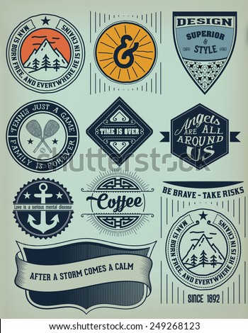 Vector. Vintage Insignias / logotypes set. Vector design elements, logos, identity, objects, labels,and badges. - stock vector
